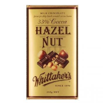 经典榛子味 坚果牛奶巧克力 零食 惠特克 Whittaker's Hazelnuts In Creamy Milk Chocolate Block 33% Cocoa 250g Net