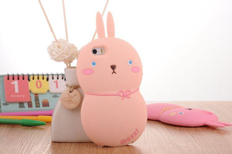 7寸胖兔兔粉色 卡通可爱呆萌兔子iphone6手机壳 苹果立体硅胶保护套